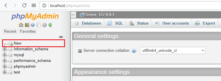 creating database for php login and registration system