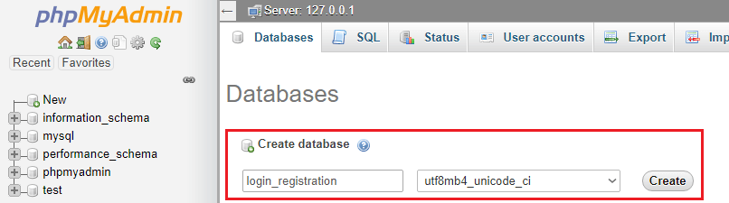 enter database name login_registration