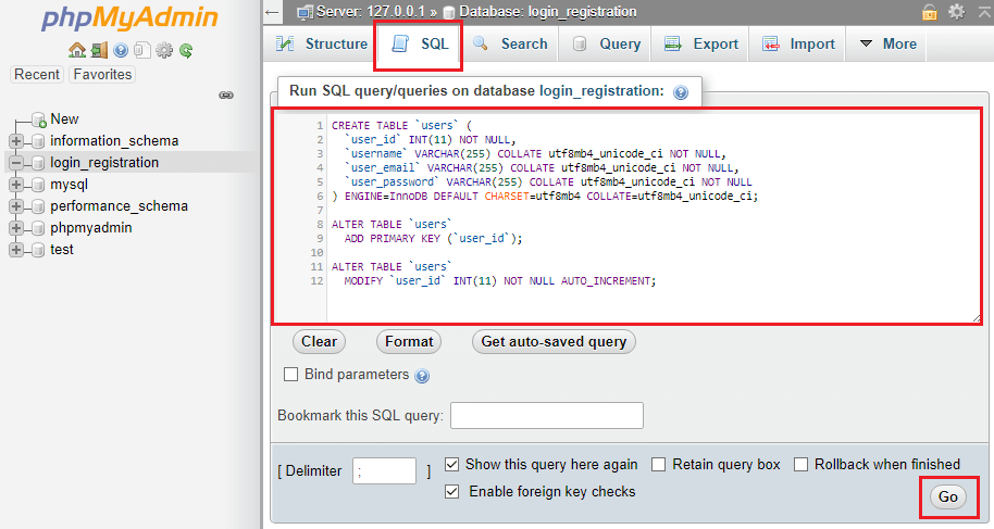 run sql code to create uses table and structure of the users table