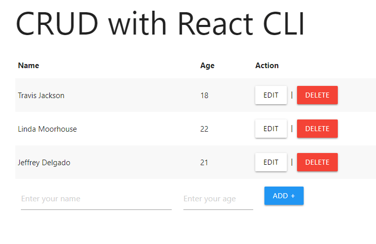Screenshot of the React JS CRUD Application