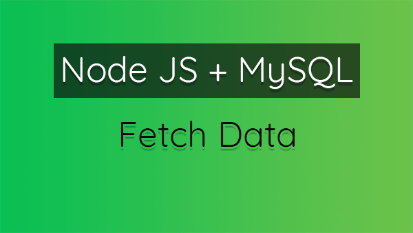 How to Fetch (Select) Data From MySQL Database Using Node JS