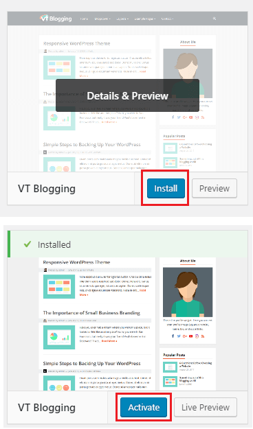 installing and activating vt blogging theme