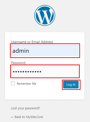 Enter your username and password to login to your website Dashboard.